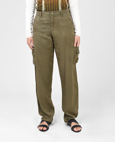 Khaki Cotton Twill Modest Cargo Pants Trousers Slim Petite (W28 L28) Khaki