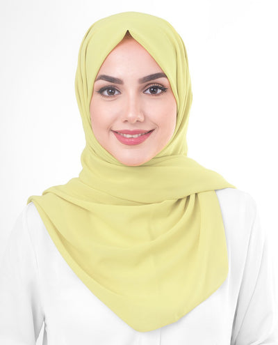 Lemon Grass Poly Georgette Hijab Regular Lemon Grass