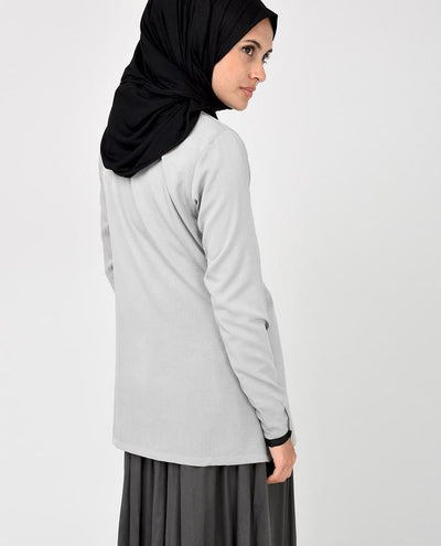 Light Grey and Black Crepe Top Slim