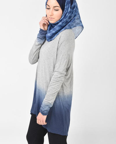 Light Grey and Petrol Blue Top Slim