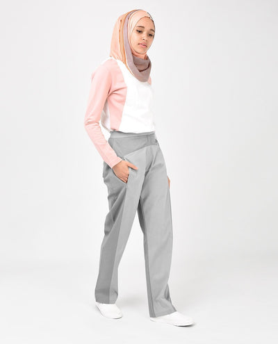 Light Grey Straight Leg Trousers Slim Petite (W28 L28)