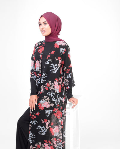 "Long Black Floral Kimono Small (8-10) Petite (- 5'2"") Black Floral"