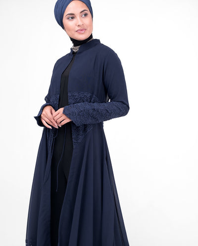 "Long Full Length Navy Elegant Lace Outerwear Small (8-10) Petite (- 5'2"") Navy"