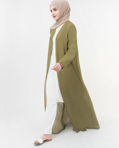 "Long Sheer Olive Drab Green Outerwear Small (8-10) Regular (5'2"" to 5'6"") Darb Green"
