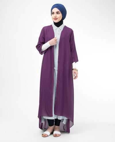 "Long Sheer Plum Purple Kimono Small (8-10) Regular (5'2"" to 5'6"") Plum Purple"