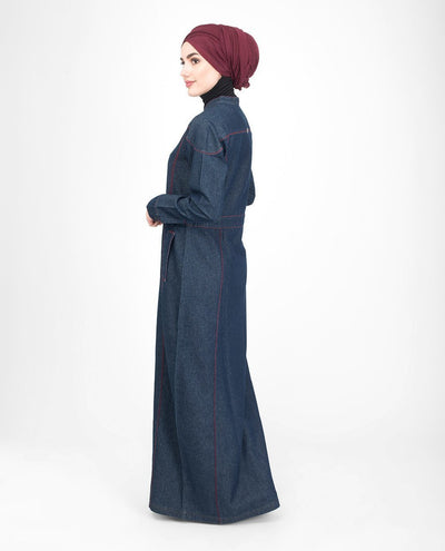 Long Zip Dark Washed Denim Abaya Jilbab S 54 Denim Blue