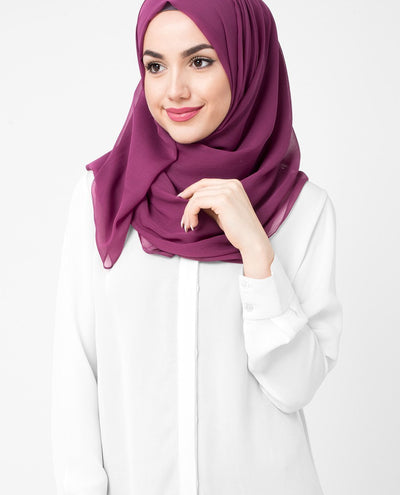 Magenta Purple Poly Chiffon Hijab Regular Magenta Purple