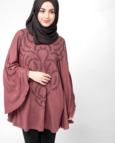 Maroon Poncho Top Slim