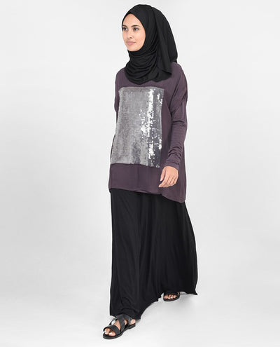 Mauve Sequin Top Slim
