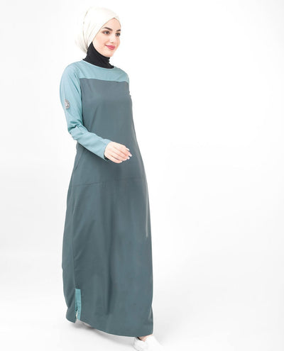 Monochrome Color Blocking Classy Weekday Look Jilbab or Abaya S 54 Grey