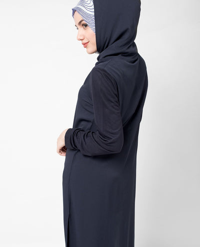 Navy Hooded Tunic Maxi Slim