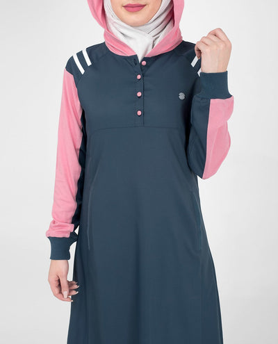 Navy Sporty Hooded Abaya or Jilbab with Contrast Pink Accent S 54 Navy