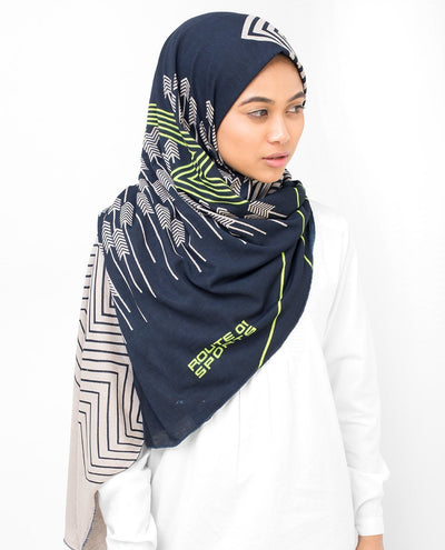 Navy Ziz Zag Viscose Jersey Hijab Regular Navy and Grey