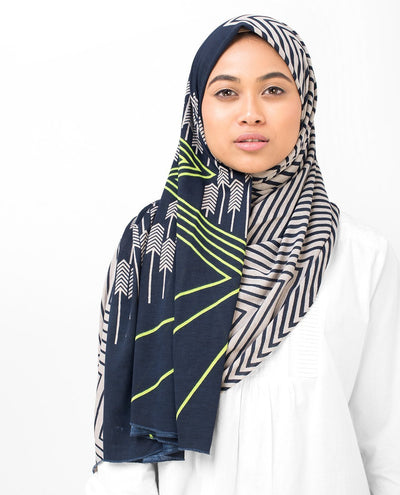 Navy Ziz Zag Viscose Jersey Hijab Maxi Navy and Grey