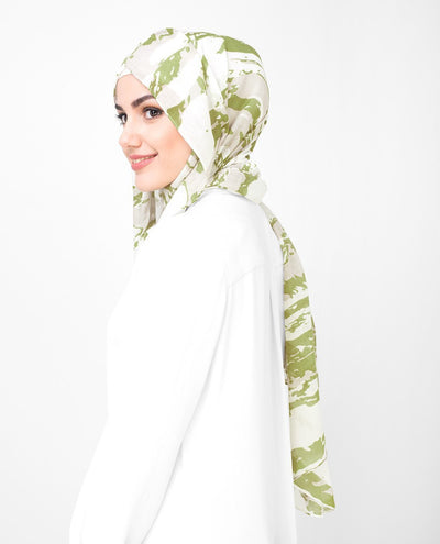 Olive and White Printed Viscose Hijab Regular