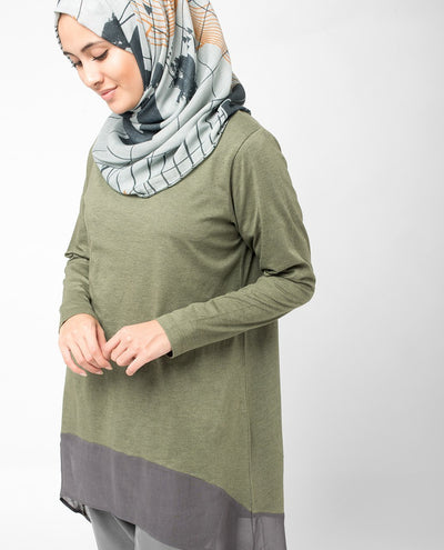 Olive Colour Block Top Slim