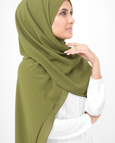 Olive Drab Green Poly Georgette Hijab Regular Olive Drab Green