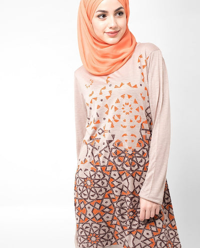 Orange Scatter Print Top Slim