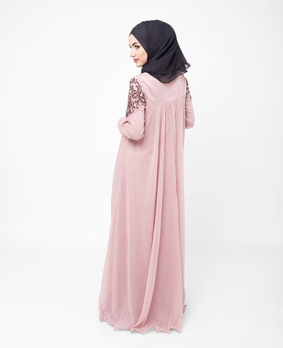 Pale Mauve Hand Embroidered Gown Extra Slim 56 (Small 56)