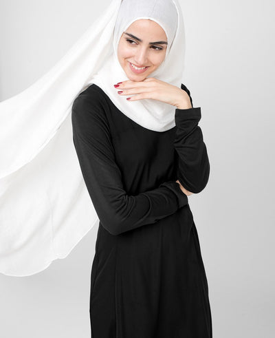 Pinless Bright White Viscose Hijab Regular White