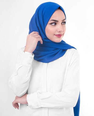 Princess Blue Hijab in Polyester Georgette Regular Blue