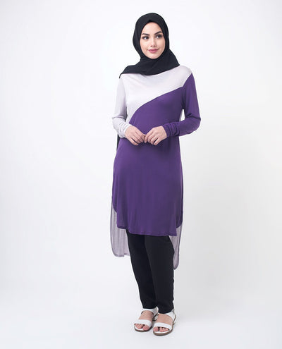 "Purple & Lilac Color Blocking Modest Top Small (8-10) Petite (- 5'2"")"