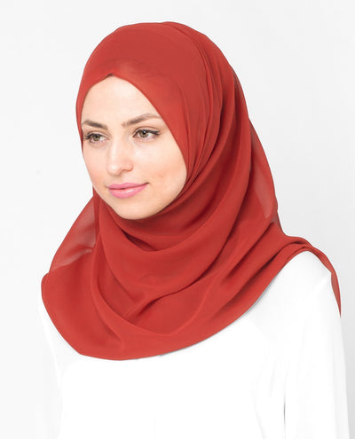 Red Clay Poly Georgette Hijab Regular Red Clay