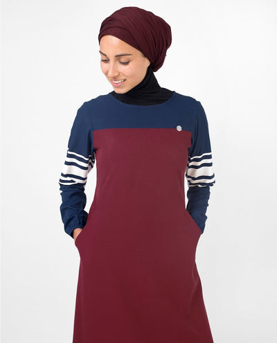Red & Navy Stripe Print Abaya & Jilbab S 54 Red