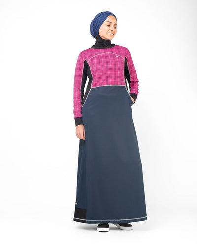 Rose Checked Print Abaya & Jilbab S 54 Pink