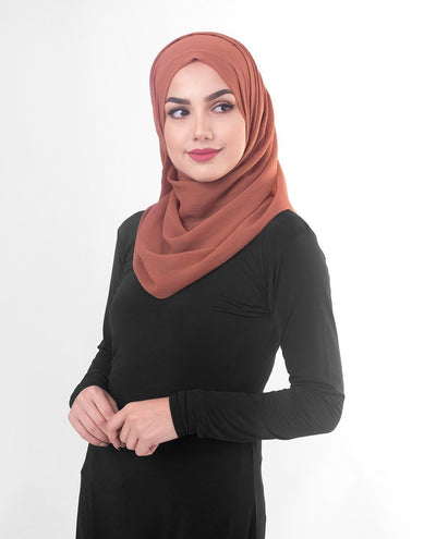 Rustic Brown Poly Chiffon Hijab M Rustic Brown