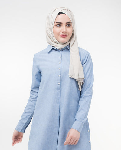 "Smart Casual Shirt Dress Small Petite (- 5'2"") Blue"