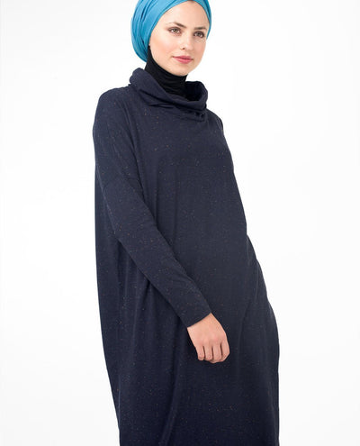 "Sparkly Navy Long Modest Top Small (8-10) Petite (- 5'2"")"