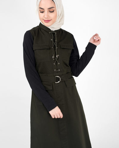 Stylish Olive & Black Sister Abaya Jilbab S 54 Green