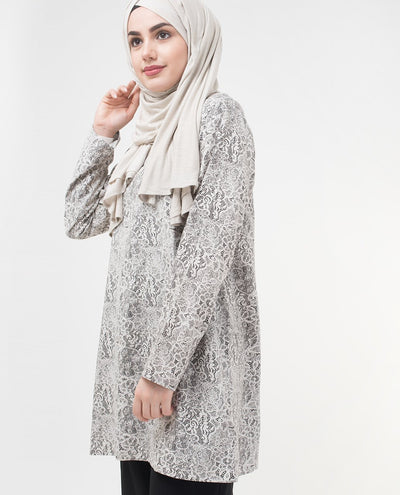 "Summer Lace Printed Modest Top Small Petite (- 5'2"")"