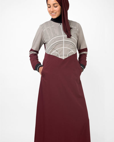 Super Cool Casual Maroon Abaya Jilbab With Chest Print S 54 Maroon
