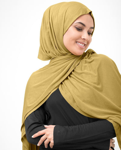 Tawny Olive Gold Viscose Jersey Hijab Regular