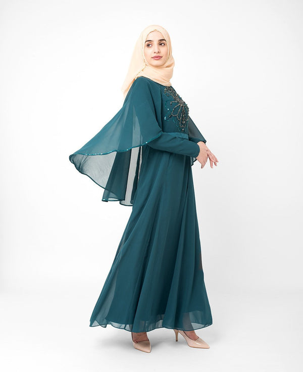 Teal Embellished Evening Abaya Gown Green Special Occasion Gown
