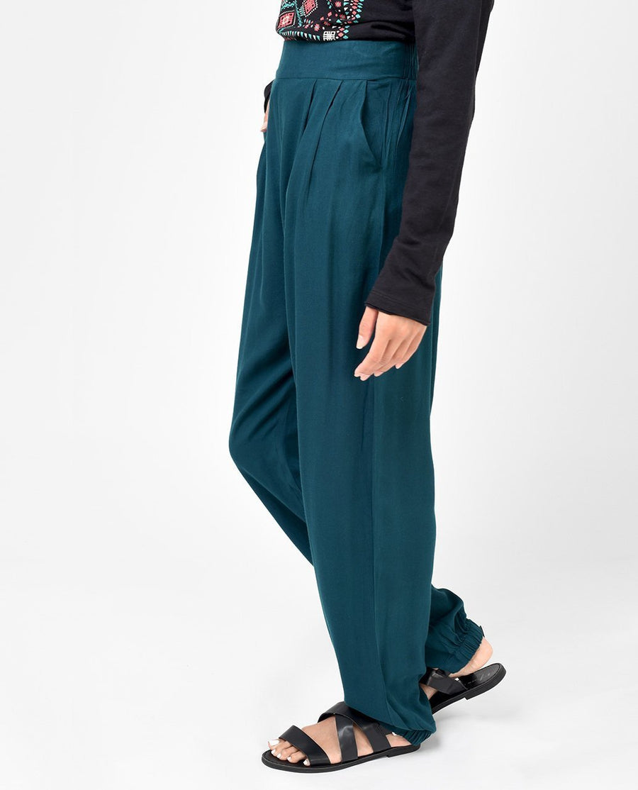 Teal Green Rayon Loose Fit Trousers Slim Petite (W28 L28)