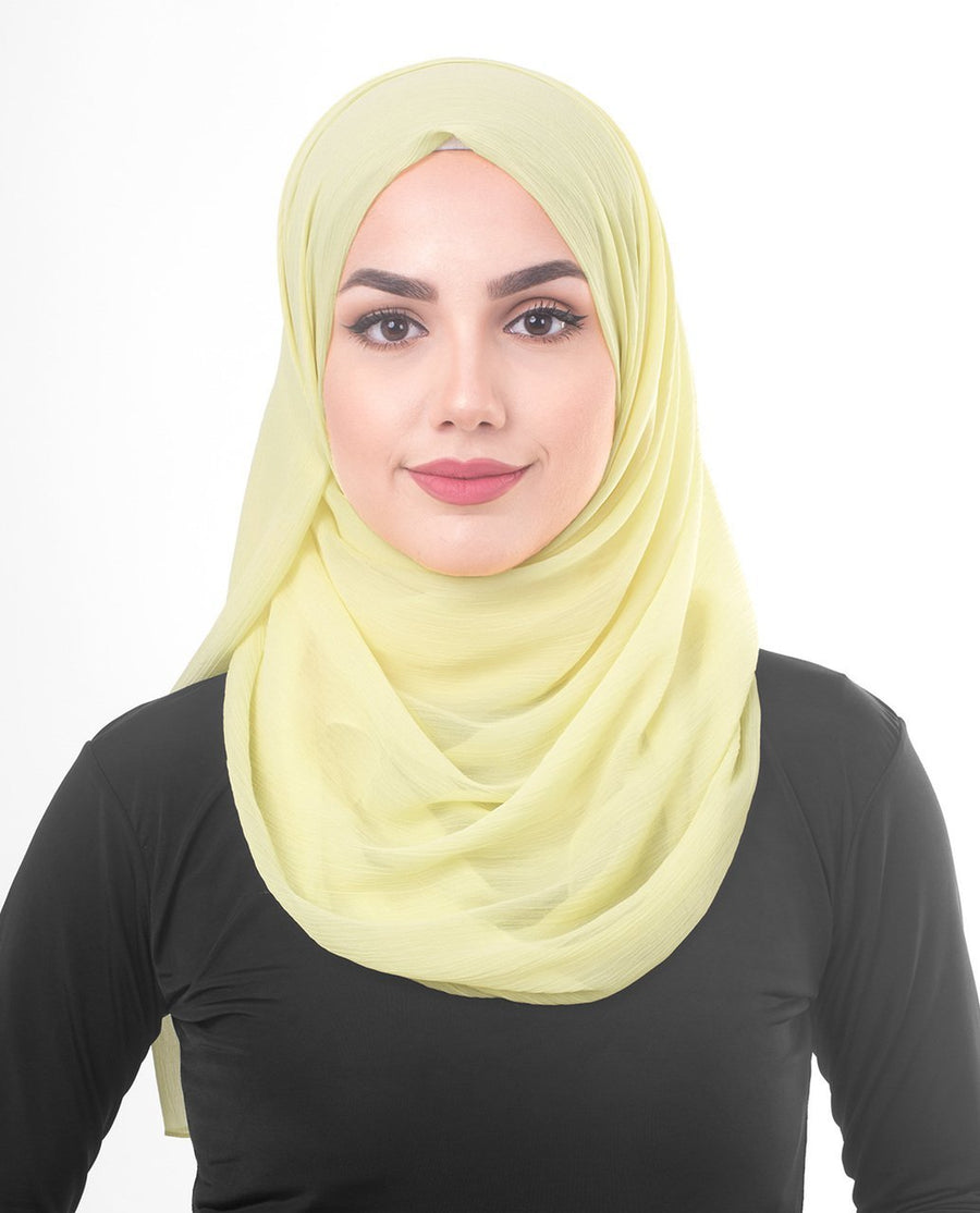 Tender Yellow Chiffon Hijab