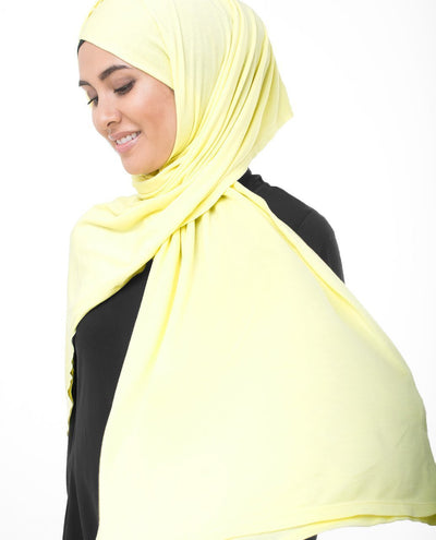 Tender Yellow Viscose Jersey Hijab Regular Tender Yellow