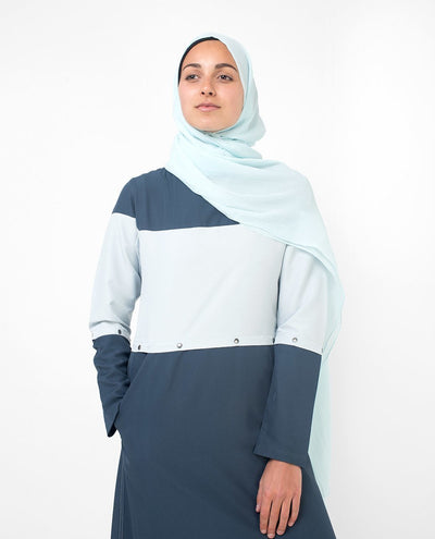 Trendy Detachable Blue Color Blocking Abaya Jilbab S 54 Denim Blue