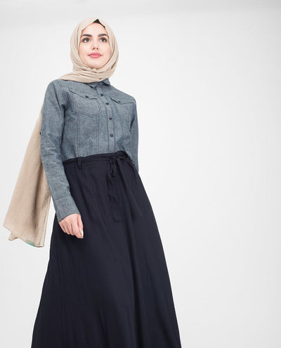 Utility Denim Flared Jilbab & Abaya S 54 Navy