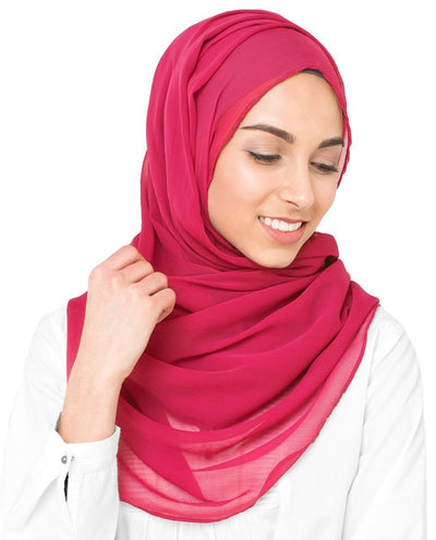 Virtual Pink Poly Chiffon Scarf Medium