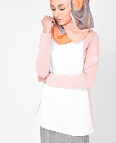 White and Dusty Pink Top Slim