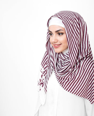 White And Red Stripes Print Viscose Jersey Hijab Medium White Red