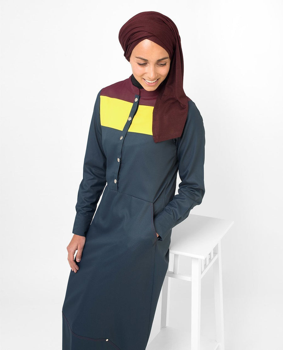 Yellow & Red Color Blocking Abaya Jilbab
