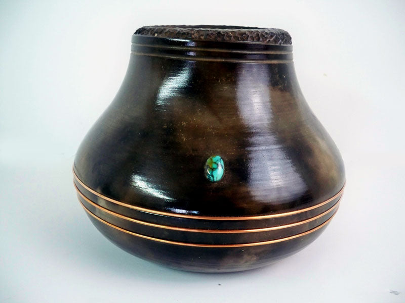 Navajo American Indian Pottery Etched Bowl with Turquoise & Copper Gerald Pinto