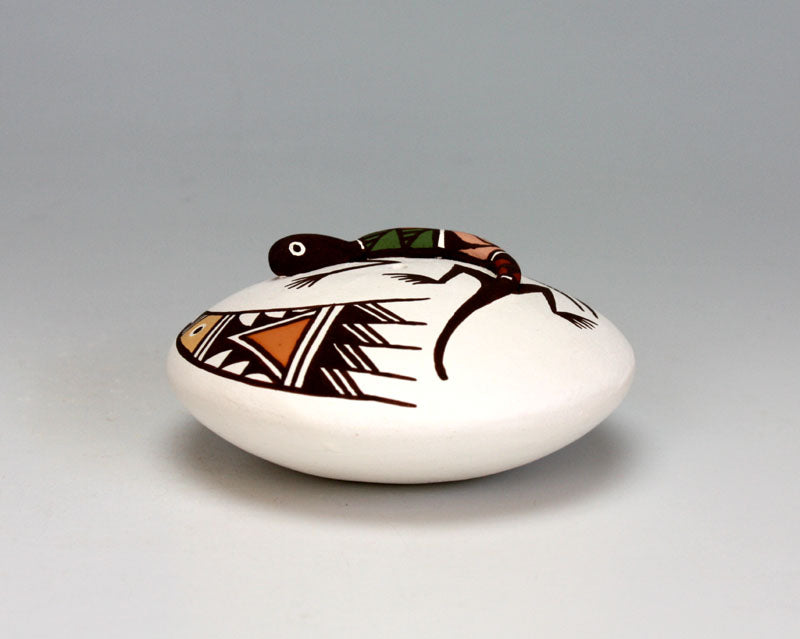 Acoma Pueblo Native American Pottery Lizard Seed Pot - Marilyn Ray