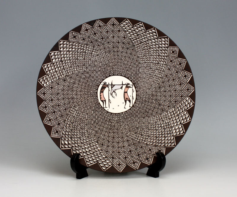 Acoma Pueblo Native American Indian Pottery Hunter Plate - Daniel Lucario