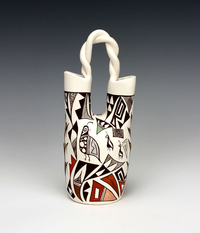 Acoma Pueblo Native American Indian Pottery Wedding Vase #4 - Judy Lewis